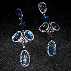Vintage Blue Opal Diamond Drop Earrings